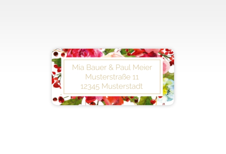"""Absenderetikett Hochzeit """"Blumenpracht"""" 45,7 x 21,2 mm weiss"""
