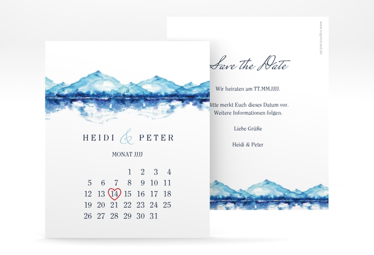 "Save the Date-Kalenderblatt ""Bergliebe"" Kalenderblatt-Karte blau"