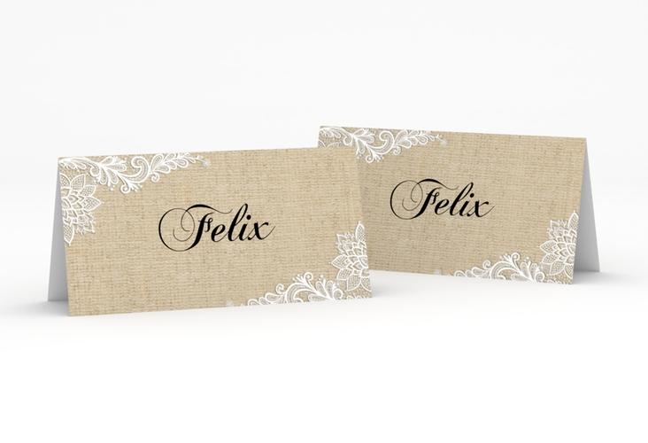 """Tischkarte Hochzeit """"Lace"""" Tischkarten beige"""