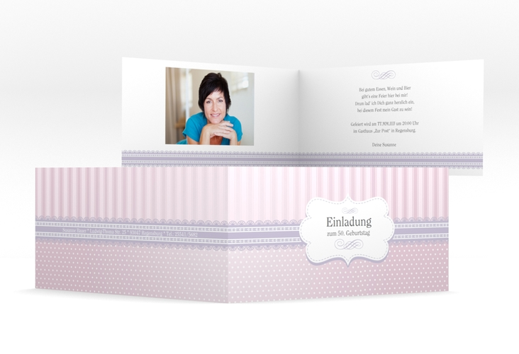 """Einladungskarte """"Heinrich/Henriette"""" DIN lang Klappkarte rosa"""