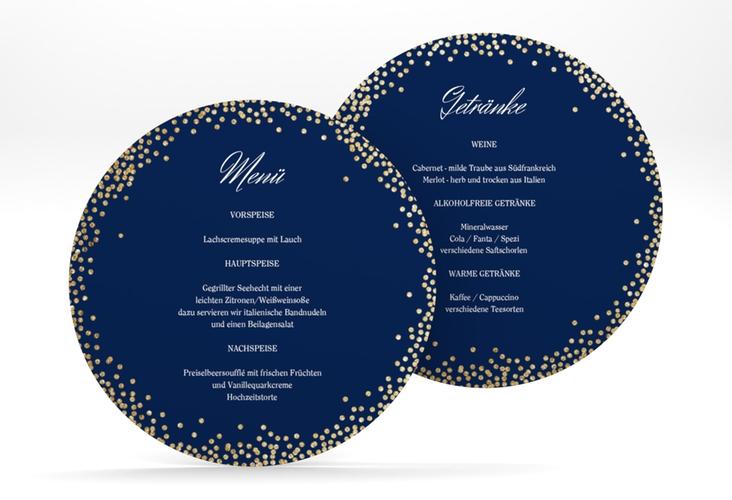 """Menükarte Hochzeit """"Glitter"""" rund blau"""