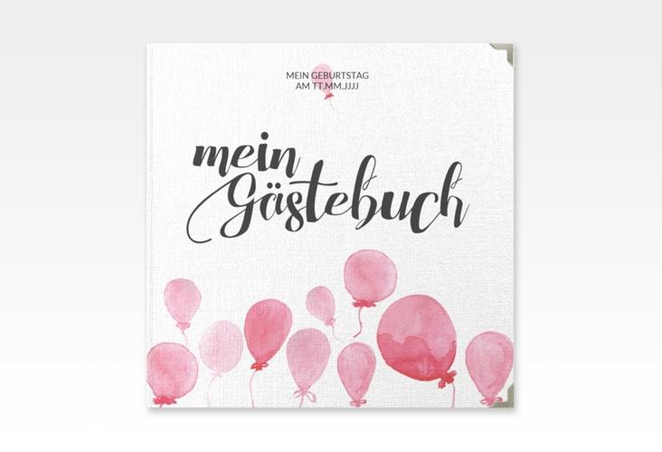 """Gästebuch Selection Geburtstag """"Ballon"""" Leinen-Hardcover rot"""