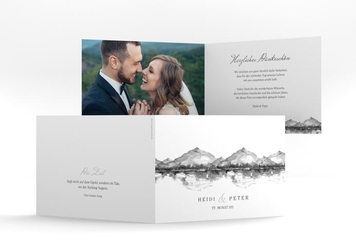 """Danksagungskarte Hochzeit """"Bergliebe"""" A6 Klappkarte Quer grau"""