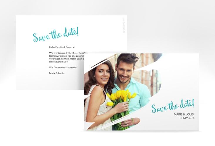 "Save the Date-Karte ""Felice"""" A6 quer tuerkis"