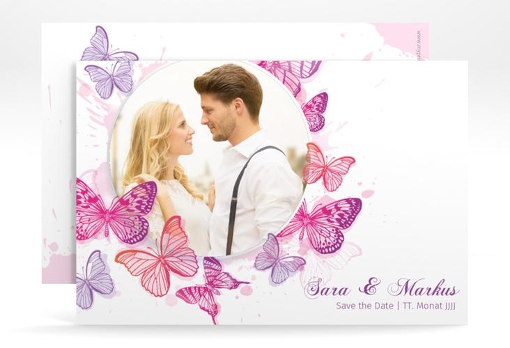 """Save the Date-Karte Hochzeit """"Schmetterlinge"""" A6 quer"""