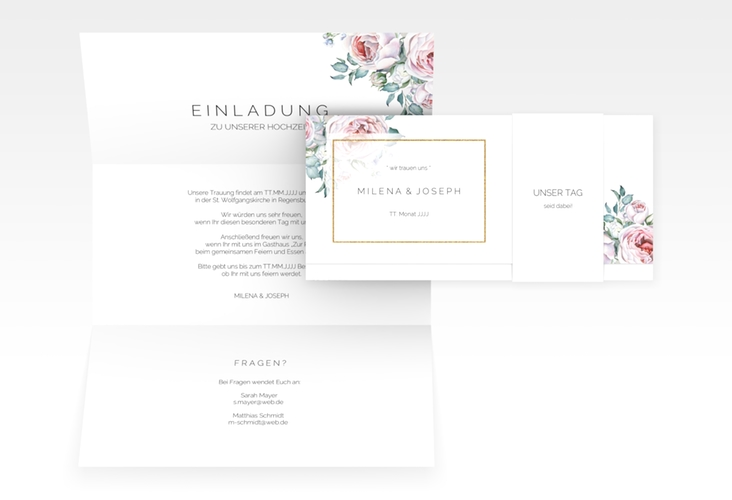 "Hochzeitseinladung ""Embrace"" DIN lang Wickelfalz"