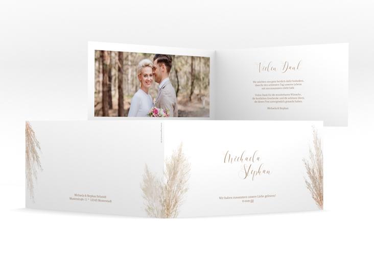 """Dankeskarte Hochzeit """"Pampasgras"""" DIN lang Klappkarte weiss"""