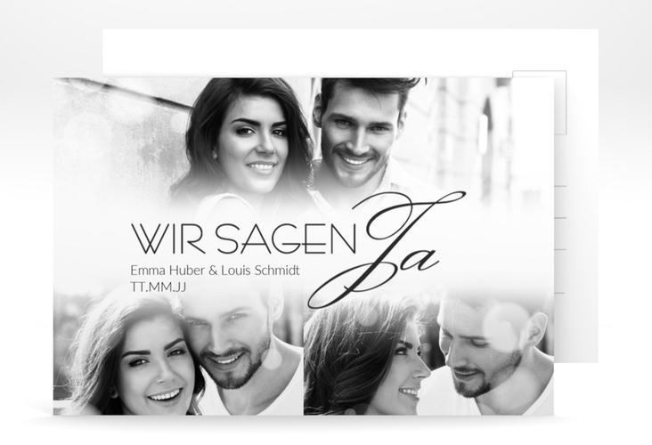 """Verlobungskarte Hochzeit """"Bokeh"""" A6 Postkarte weiss"""