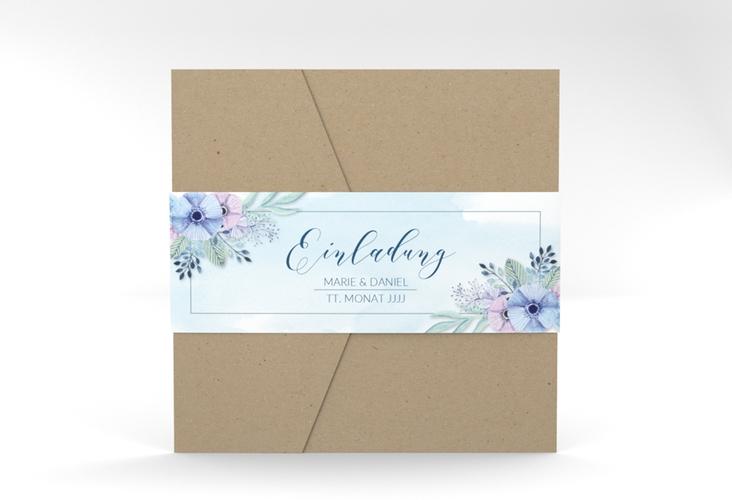 """Hochzeitseinladung """"Surfinia"""" Pocketfold blau"""