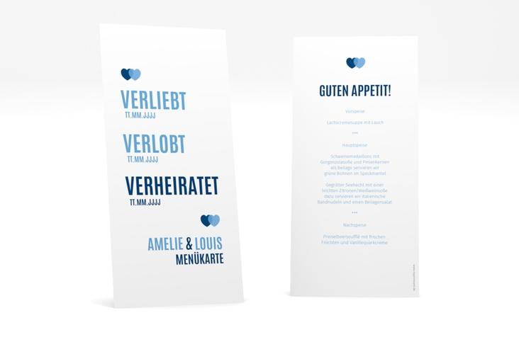 "Menükarte Hochzeit ""Couple"" DIN lang hoch blau"