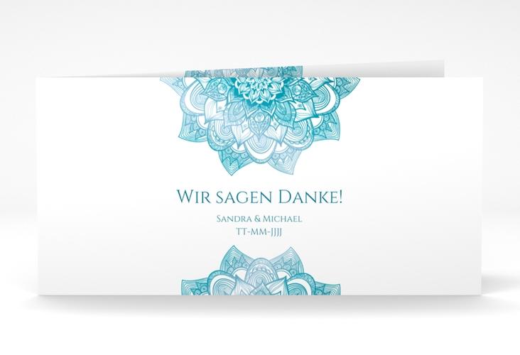 """Danksagungskarte Hochzeit """"Delight"""" DIN lang Klappkarte tuerkis"""