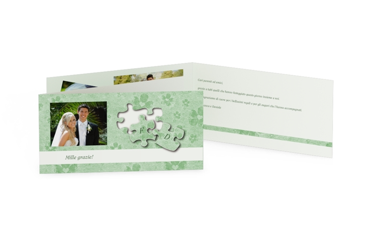Ringraziamenti matrimonio collezione Bergamo DIN lang Klappkarte verde