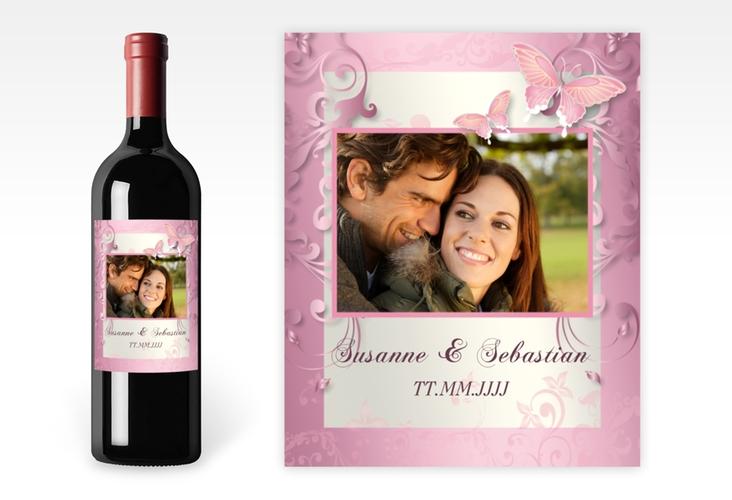 """Weinflaschenetikett Hochzeit """"Toulouse"""" Etikett Weinflasche 4er Set rosa"""