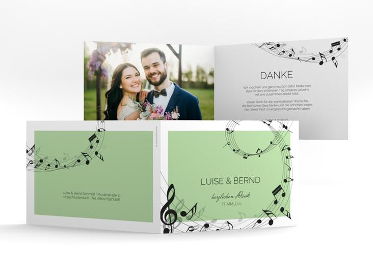"Dankeskarte Hochzeit ""Melody"" A6 Klappkarte Quer gruen"