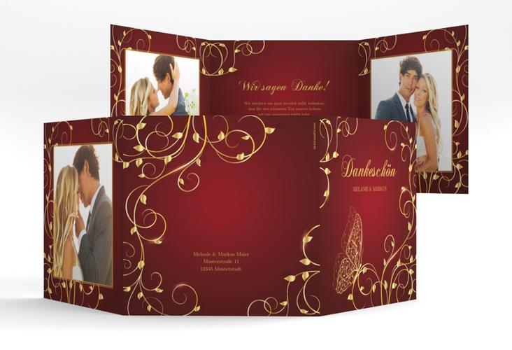 """Dankeskarte Hochzeit """"Eternity"""" Quadr. Karte doppelt rot"""