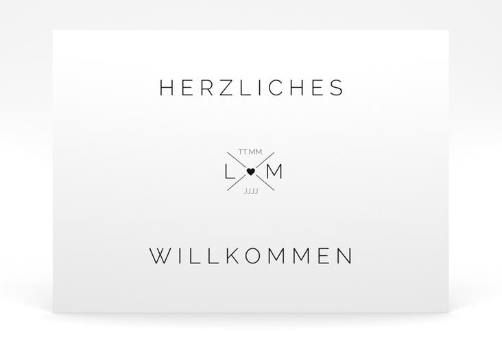 """Willkommensschild Poster """"Initials"""" 70 x 50 cm Poster schwarz"""