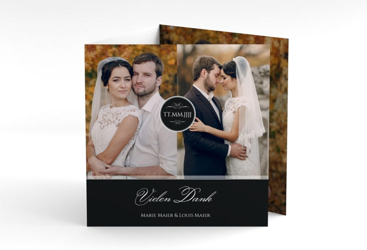 "Dankeskarte Hochzeit ""Elegancy"" Quadr. Karte doppelt schwarz"