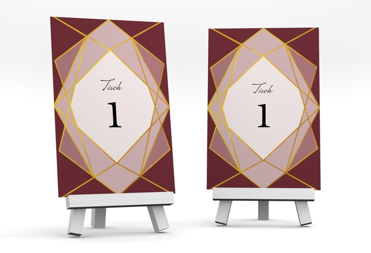 """Tischnummer Hochzeit """"Geometric"""" Tischaufsteller rot"""