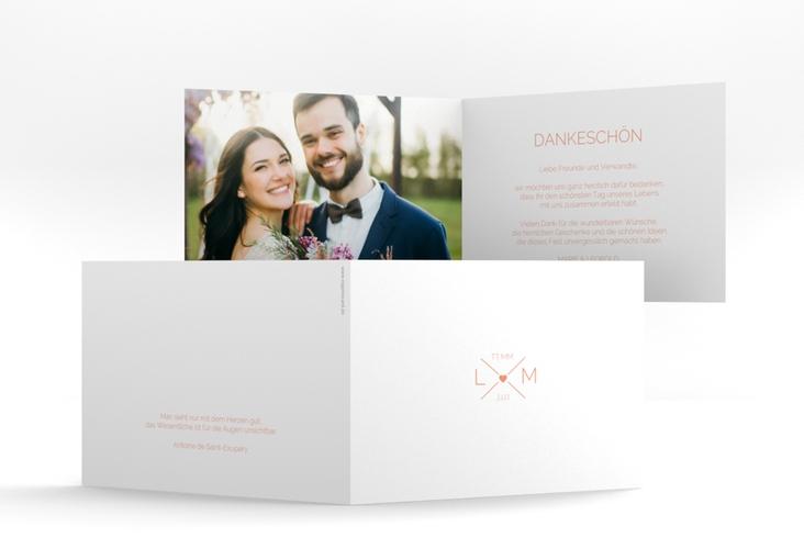 """Danksagungskarte Hochzeit """"Initials"""" A6 Klappkarte Quer apricot"""