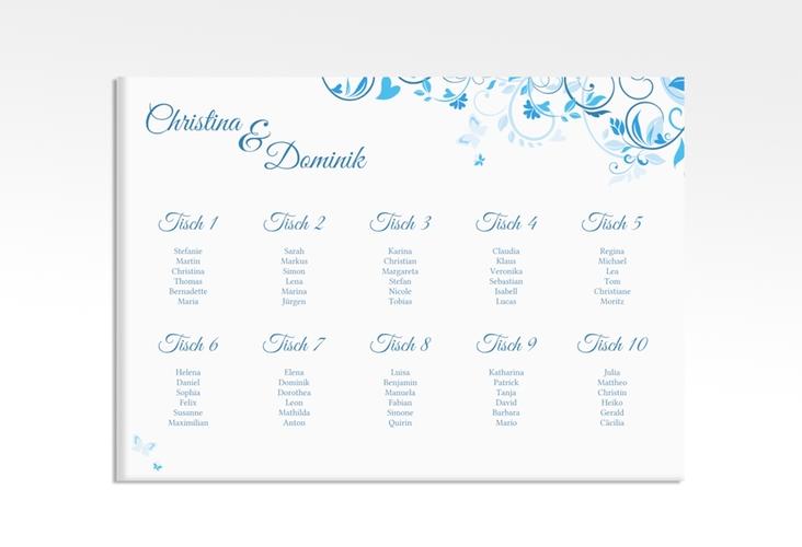 "Sitzplan Leinwand Hochzeit ""Lilly"" 70 x 50 cm Leinwand blau"