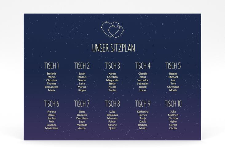 """Sitzplan Poster Hochzeit """"Sternenbild"""" 70 x 50 cm Poster"""