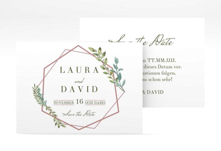 "Save the Date-Visitenkarte ""Herbarium"" Visitenkarte rosa"