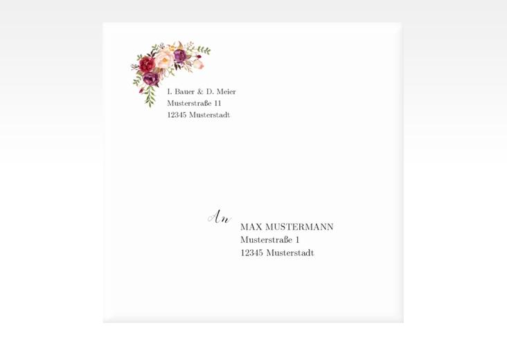 "Kuvert quadratisch ""Flowers"" Quadratisch rot"