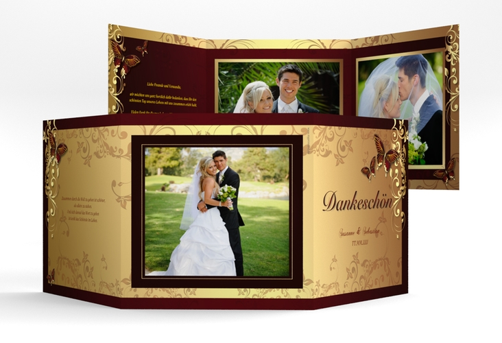 """Dankeskarte Hochzeit """"Toulouse"""" Quadr. Karte doppelt rot"""
