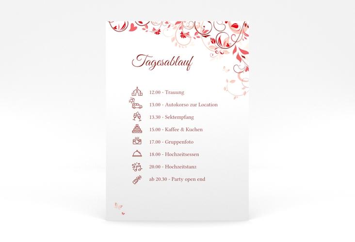 """Tagesablauf Poster Hochzeit """"Lilly"""" 50 x 70 cm Poster rot"""