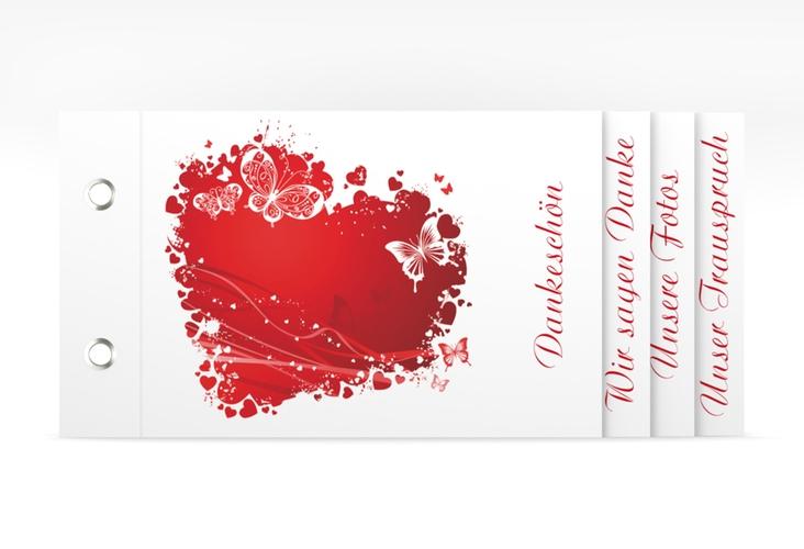 """Danksagungskarte Hochzeit """"Mailand"""" Booklet rot"""
