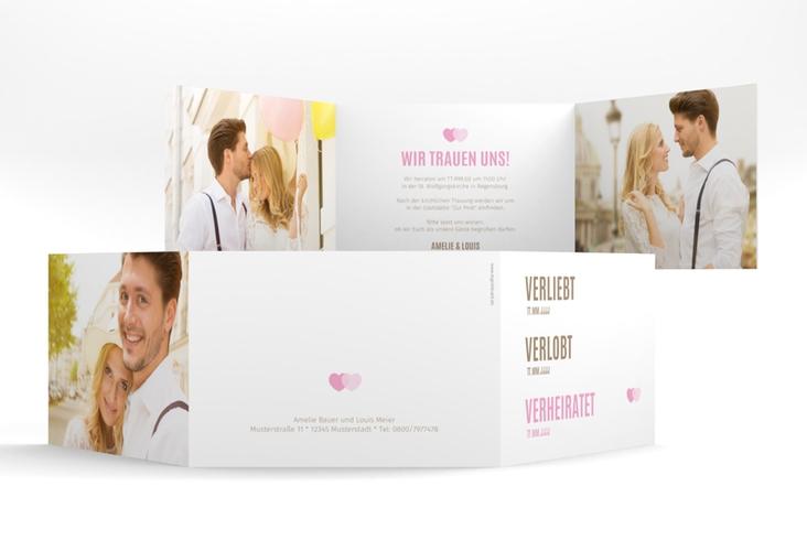 """Hochzeitseinladung """"Couple"""" A6 doppelt geklappt rosa"""