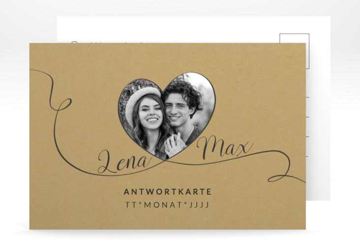 """Antwortkarte Hochzeit """"Herzensbund"""" A6 Postkarte schwarz"""