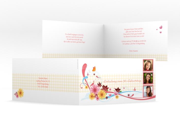 "Einladungskarte ""Elisabeth"" DIN lang Klappkarte rosa"