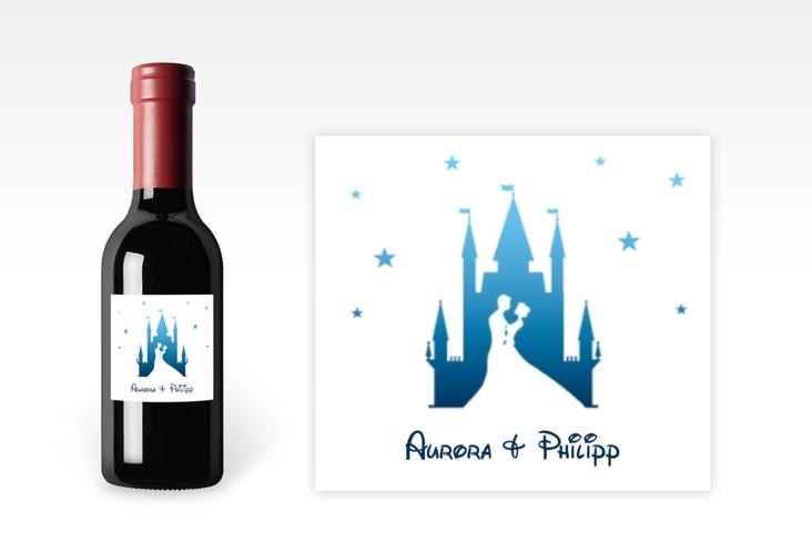 "Piccoloetikett Hochzeit ""Castle"" Etikett Piccolo blau"