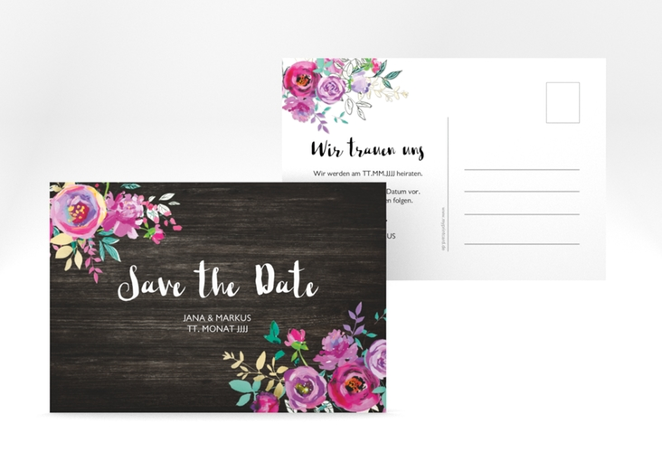 "Save the Date-Postkarte ""Flourish"" A6 Postkarte schwarz"
