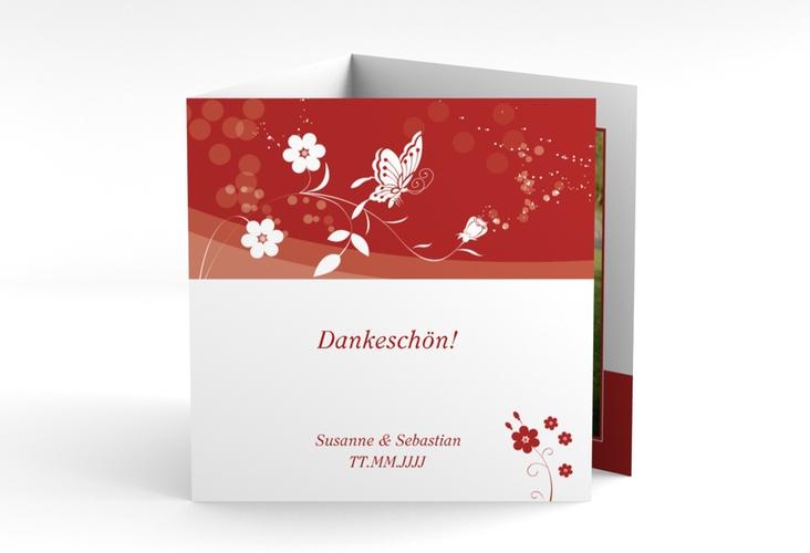 """Danksagungskarte Hochzeit """"Verona"""" Quadr. Karte doppelt rot"""