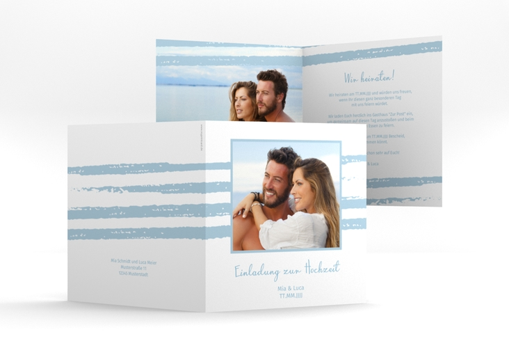 """Hochzeitseinladung """"Mare"""" Quadratische Klappkarte blau"""
