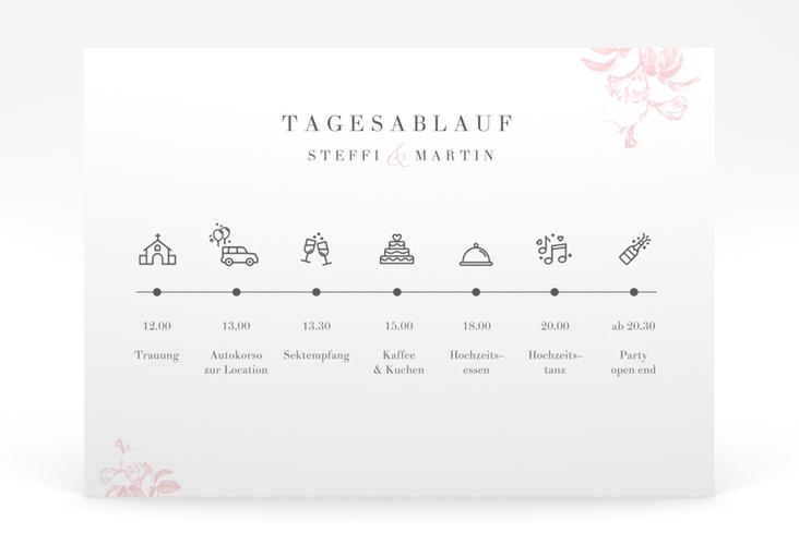 """Tagesablauf Poster Hochzeit """"Magnificent"""" 70 x 50 cm Poster rosa"""