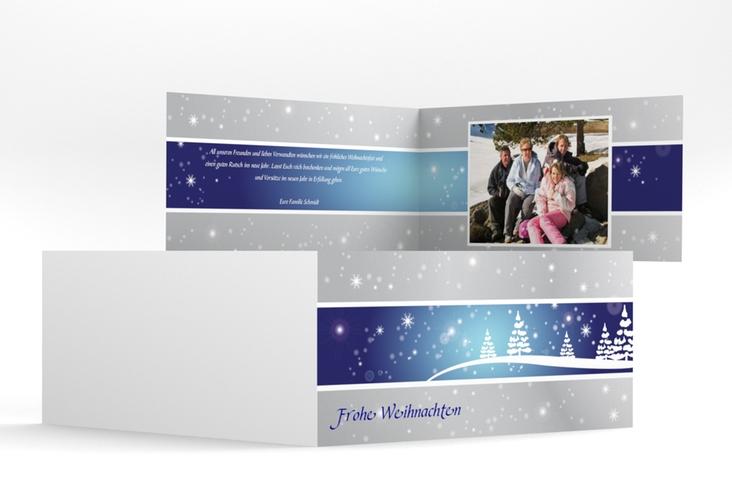 "Weihnachtskarte ""Magical"" DIN lang Klappkarte blau"