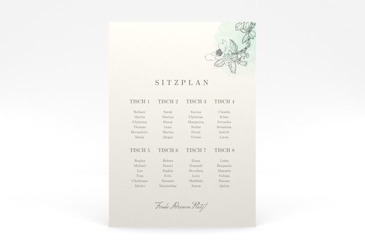 """Sitzplan Poster Hochzeit """"Artlover"""" 50 x 70 cm Poster mint"""