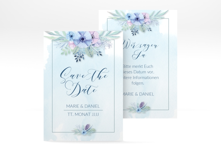 "Save the Date-Visitenkarte ""Surfinia"" Visitenkarte blau"