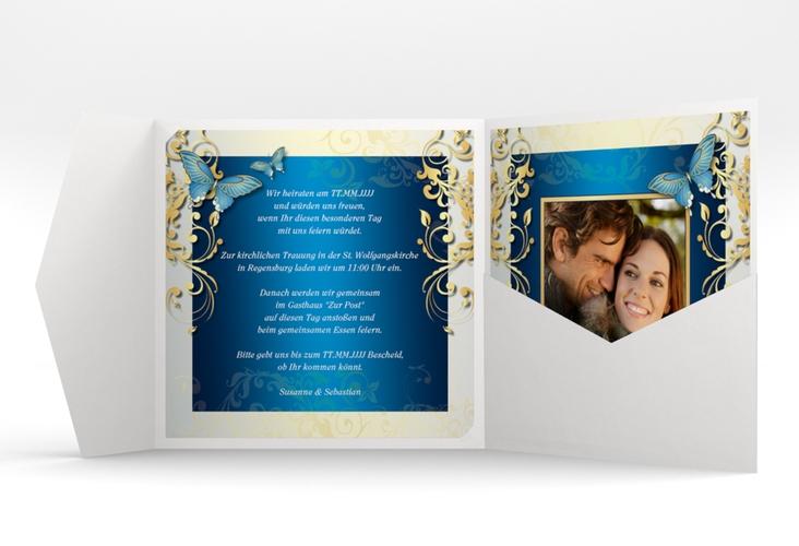 """Hochzeitseinladung """"Toulouse"""" Pocketfold blau"""