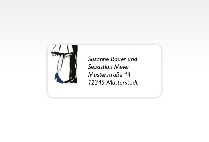 """Absenderetikett Hochzeit """"Straßburg"""" 45,7 x 21,2 mm blau"""