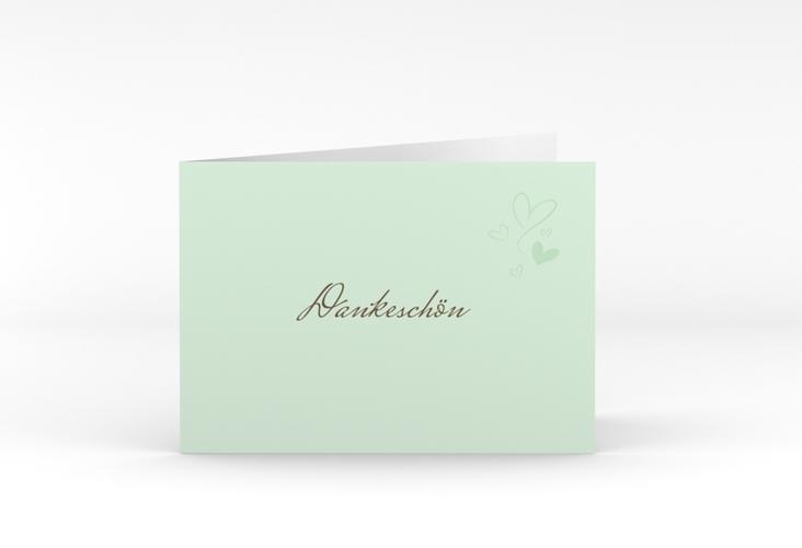 """Danksagungskarte Hochzeit """"Purity"""" A6 Klappkarte Quer mint"""