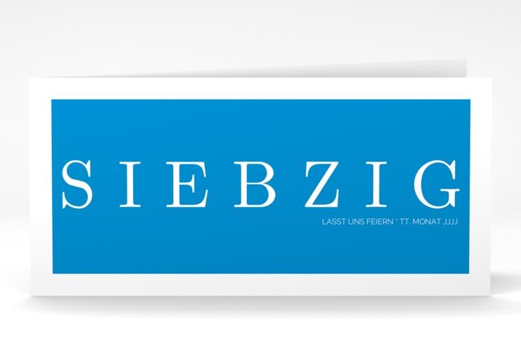 """Einladungskarte """"Schlicht"""" DIN lang Klappkarte blau"""
