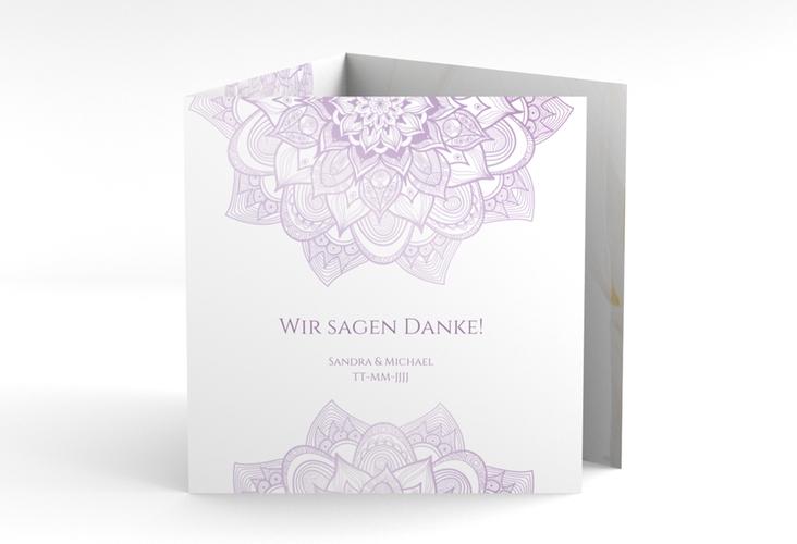 """Dankeskarte Hochzeit """"Delight"""" Quadr. Karte doppelt flieder"""