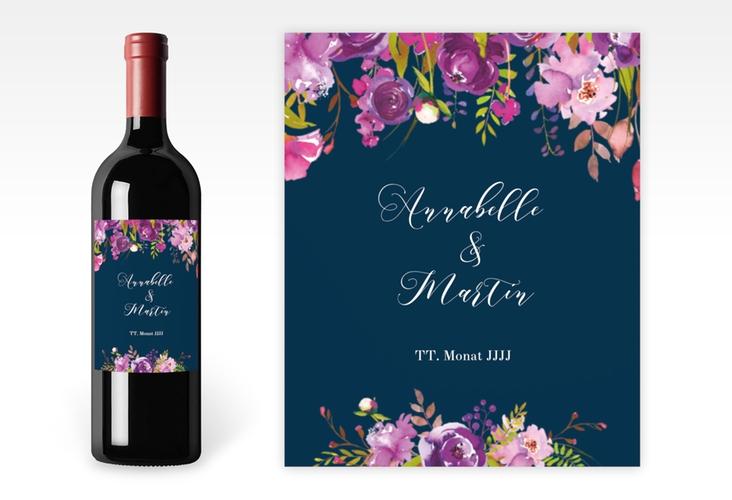 """Weinetikett zur Hochzeit """"Violett"""" Etikett Weinflasche 4er Set blau"""