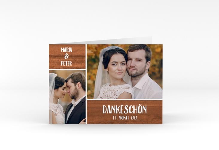 """Danksagungskarte Hochzeit """"Landliebe"""" A6 Klappkarte Quer braun"""