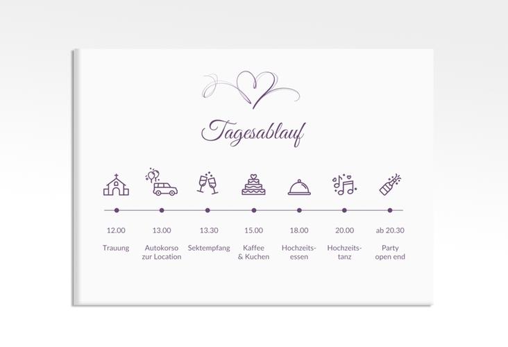 "Tagesablauf Leinwand Hochzeit ""Envie"" 70 x 50 cm Leinwand lila"