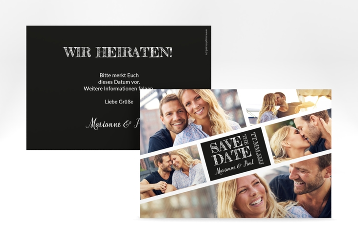 "Save the Date-Karte ""Rise"" A6 quer schwarz"